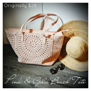 Pink & Gold Laser Cut Beach Bag Tote